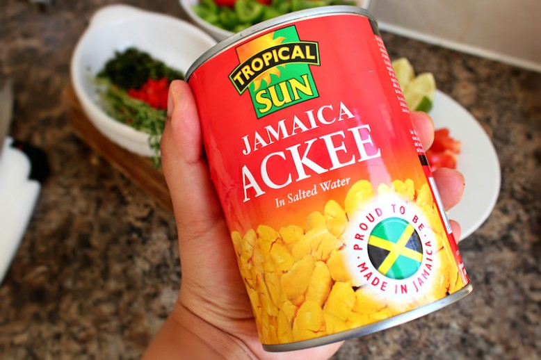 Ackee and Saltfish with Steamed Spinach