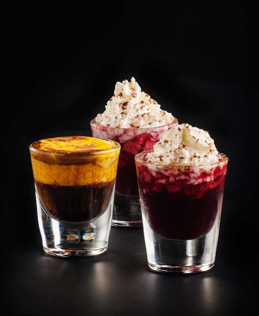 Zabaione del ciclista and Muscat grapes and strawberry trifle