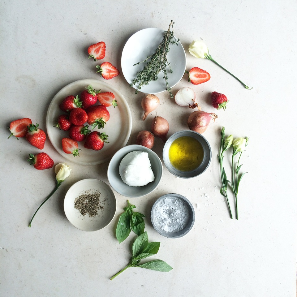 Recipe: Anna Barnett's Sticky Shallot, Mozzarella, Strawberries, Thyme & Basil Salad